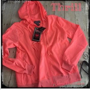 🆕 THRILL LOVE Embossed Orange Zip Up Sweat Jacket